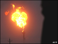 Gas flare in northern Russia
