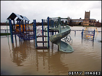Flooded playground in Tewkesbury