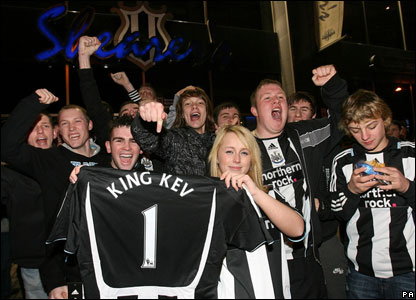 Newcastle United fan Sophie Ross poses with a Kevin Keegan shirt