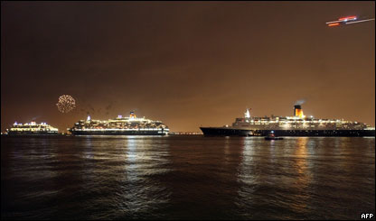(Left-right) The Queen Mary 2, The Queen Victoria and the Queen Elizabeth 2 Cunard Queen ships sail out of New York Harbour