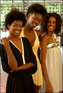 Black models outside Sao Paolo Fashion Week