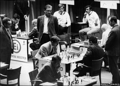 Fischer (centre, seated) competes against Soviet Tigran Petrosian in the chess 'Match of the Century' which was a duel between the Soviet team and the rest of the world team.
