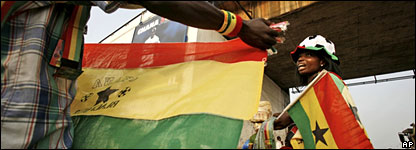 Vendors selling Black Stars flags in Ghana