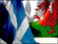 Saltire and welsh flag