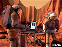 Artist's impression of astronauts on Mars