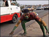 A football fan painted in the Black Stars' colours in Accra, Ghana