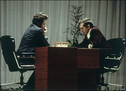 Bobby Fischer of the US (right), and Boris Spassky of Russia in 1972