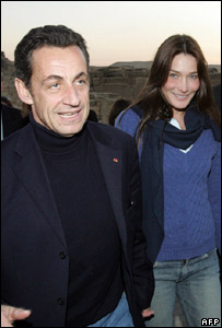 Nicolas Sarkozy with his girlfriend Carla Bruni
