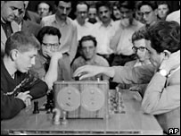 Bobby Fischer (left) plays a practice match against Soviet grand master Tigran Petrosian in 1958