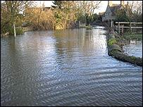Flooding in the village of Kelmscott, west Oxfordshire