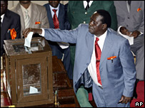 Raila Odinga votes in the election for speaker of parliament