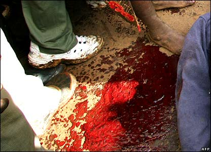 Blood on the ground on Friday 18 January