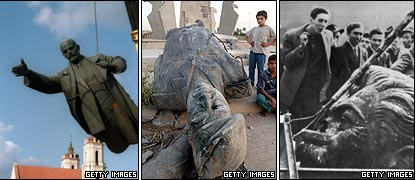 Toppled statues - Lenin, Saddam, Stalin