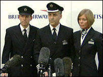 Senior First Officer John Coward, Captain Peter Burkill and Cabin Services Director Sharron Eaton-Mercer