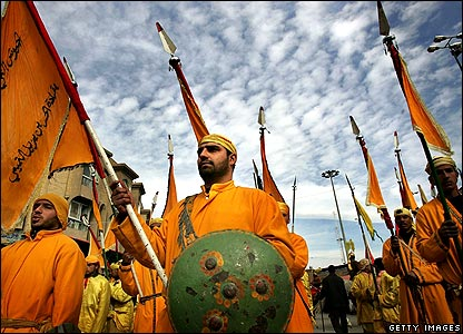 Men in Karbala dressed as troops from the Battle of Karbala