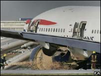 Crashed plane at Heathrow