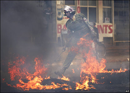 Kenyan policeman in Eldoret on Friday 18 January