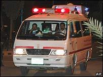 A Yemeni ambulance carrying the bodies of two Belgian women