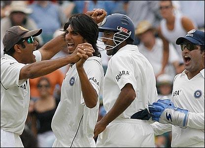 Ishant Sharma celebrates the dismissal of Australia captain Ricky Ponting