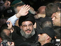 Sheik Hassan Nasrallah in southern Beirut