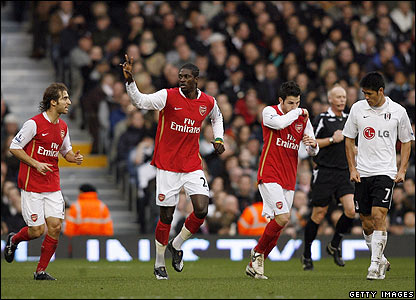 Emmanuel Adebayor gives the Gunners the lead