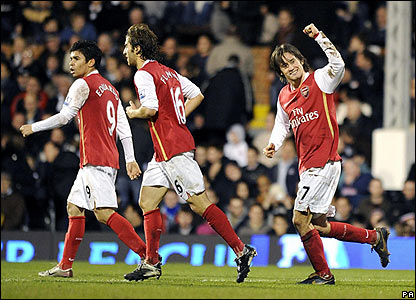 Tomas Rosicky celebrates scoring for Arsenal