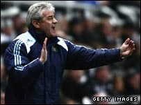 New Newcastle boss Kevin Keegan shouts from the touchline