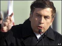 Mikhail Saakashvili speaking at the opening of a new military base 18.01.08