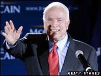 John McCain at his victory rally