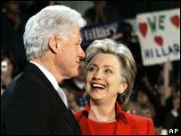 Hillary and Bill Clinton in St Louis, Missouri 19.01.08