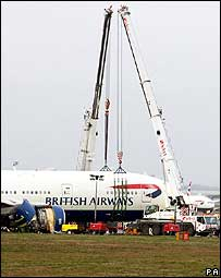 Crane at Heathrow crash site