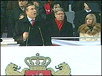 Mikhail Saakashvili speaking at his inauguration