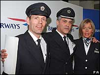 Senior First Officer John Coward, Captain Peter Burkill, Cabin Services Director Sharron Eaton-Mercer