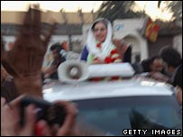 Benazir Bhutto in convoy moments before her assassination