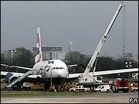 Plane on Heathrow runway