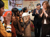 Gordon Brown and his wife Sarah at an Indian women's centre