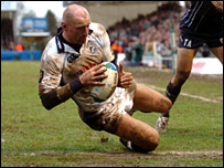 Gareth Thomas touches down for the Blues second try