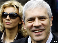 Boris Tadic leaving a polling station in Belgrade