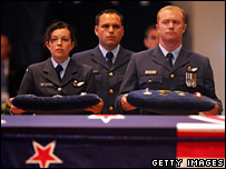 Royal New Zealand Air Force personnel stand behind Sir Edmund Hillary's casket in Holy Trinity Cathedral