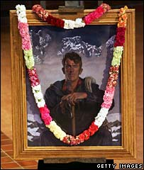 A painting of Sir Edmund Hillary in New Zealand's Holy Trinity Cathedral