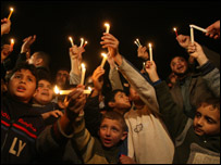 Palestinians hold candles during a protest against fuel shortages 20.01.08