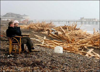 Timber washed up on Worthing beach