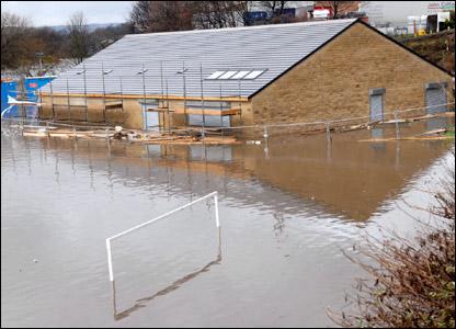 Photo taken by Alexis Bradbury of playing fields under water in Mirfield