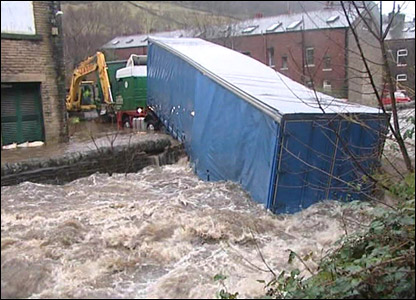 Lorry in river