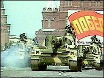 Soviet tanks on Red Square (file pic)
