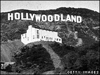 b and w hollywoodland sign