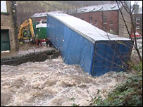 Lorry stuck at Hebden Bridge, West Yorkshire