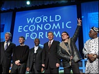 Bill Clinton, Bill Gates, Thabo Mbeki, Tony Blair, Bono, Olesgun Obasanjo in Davos