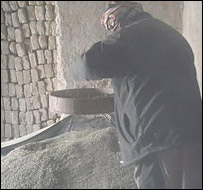 Man sieving hashish  in the north of Afghanistan