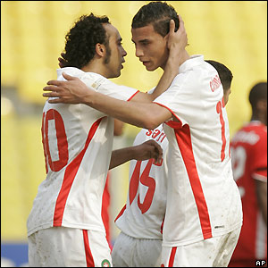 Sektioui is congratulated by Maroune Chamakh